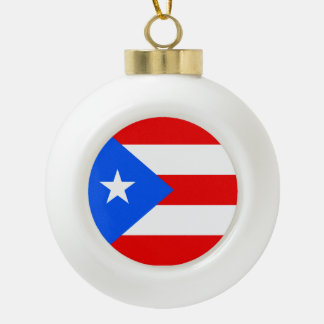 Puerto Rico Flag Ceramic Ball Ornament