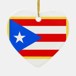Puerto Rico Flag Ceramic Heart Ornament