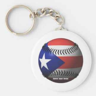 Puerto Rico Flag Covering a Baseball Basic Round Button Keychain