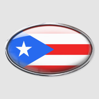 Puerto Rico Flag Glass Oval Oval Sticker