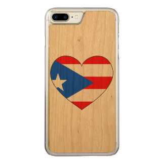 Puerto Rico Flag Heart Carved iPhone 8 Plus/7 Plus Case