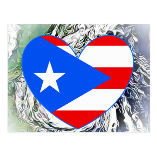 Puerto Rico Flag Heart Hurrcane Postcard