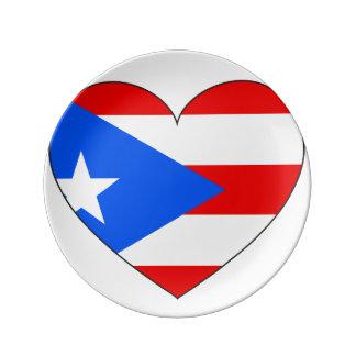 Puerto Rico Flag Heart Plate
