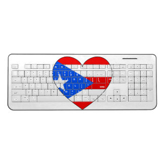 Puerto Rico Flag Heart Wireless Keyboard