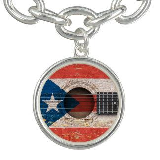 Puerto Rico Flag on Old Acoustic Guitar Charm Bracelet