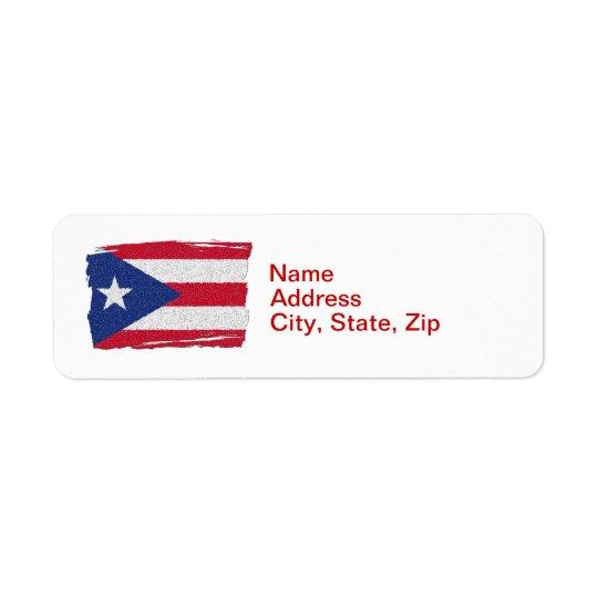 PUERTO RICO FLAG RETURN ADDRESS LABEL