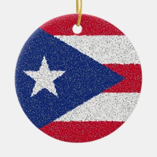 PUERTO RICO FLAG ROUND CERAMIC ORNAMENT