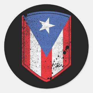 Puerto Rico Flag Round Sticker