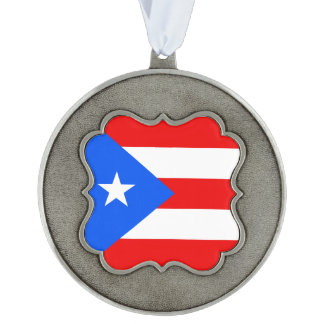 Puerto Rico Flag Scalloped Pewter Ornament