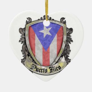 Puerto Rico Flag - Shield Crest Ceramic Ornament