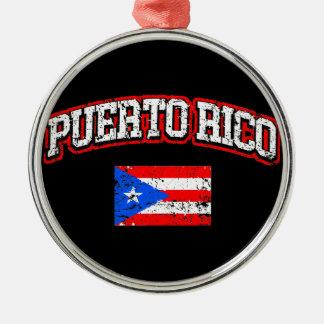 Puerto Rico  Flag Silver-Colored Round Ornament