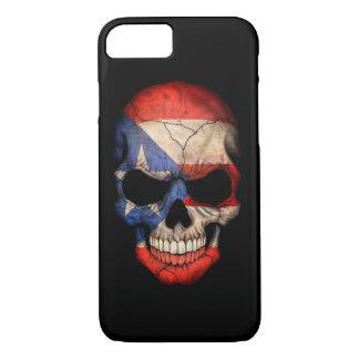 Puerto Rico Flag Skull on Black iPhone 7 Case