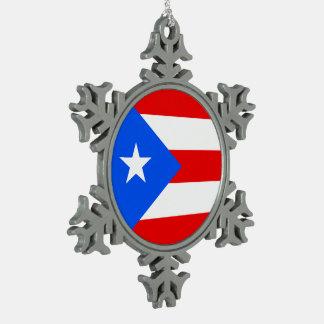 Puerto Rico Flag Snowflake Pewter Christmas Ornament
