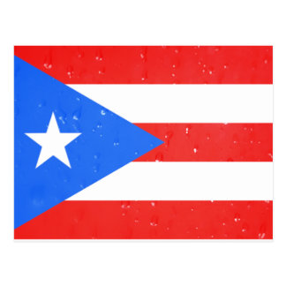 Puerto Rico Flag with Raindrops Postcard