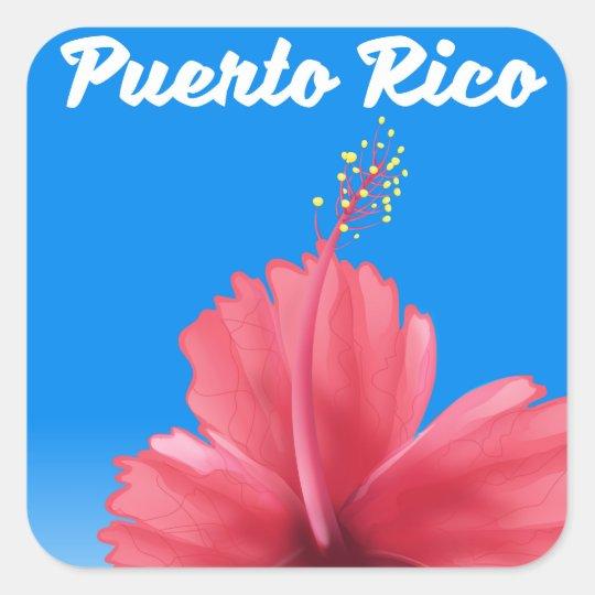 Puerto Rico Flor de maga travel poster Square Sticker