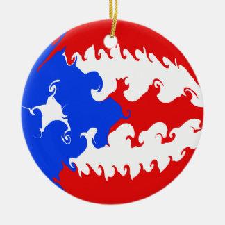 Puerto Rico Gnarly Flag Round Ceramic Ornament