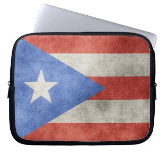 Puerto Rico Grunge Flag Laptop Sleeve