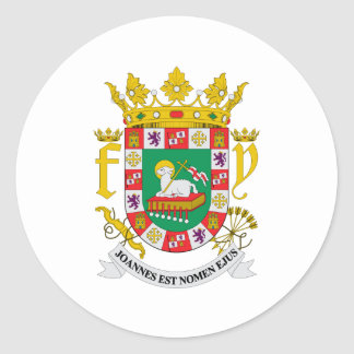 Puerto Rico Official Coat Of Arms Heraldry Symbol Classic Round Sticker