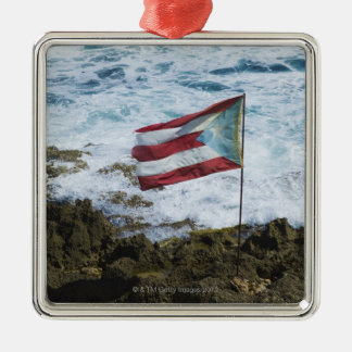Puerto Rico, Old San Juan, flag of Puerto rice Silver-Colored Square Ornament