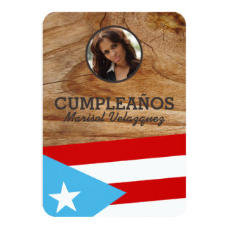 """Puerto Rico Party: Flag: Personalized Photo 3.5"""" X 5"""" Invitation Card"""