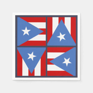 Puerto Rico Party Theme: Bold Flag Square Pattern Paper Napkins