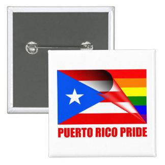 Puerto Rico Pride LGBT Rainbow Flag 2 Inch Square Button