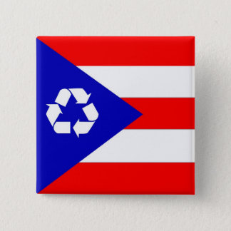 Puerto Rico recycle flag 2 Inch Square Button