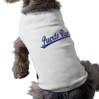 Puerto Rico script logo in blue distressed Dog Clothing