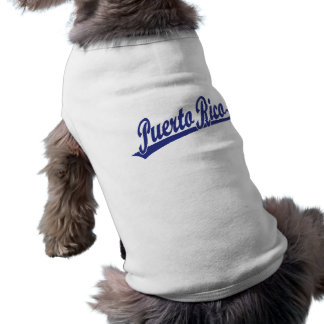 Puerto Rico script logo in blue Pet Clothes