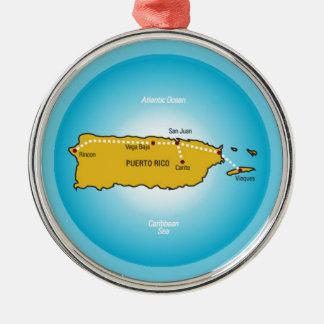 Puerto Rico Silver-Colored Round Ornament