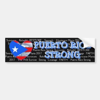Puerto Rico Strong Flag Hurricane Maria Bumper Bumper Sticker