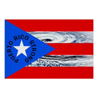 Puerto Rico Strong Flag Hurricane Poster
