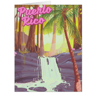 Puerto Rico Tropical Palm travel poster Card