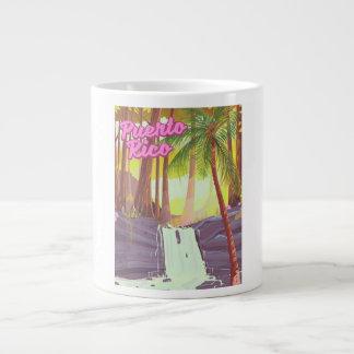 Puerto Rico Tropical Palm travel poster Large Coffee Mug