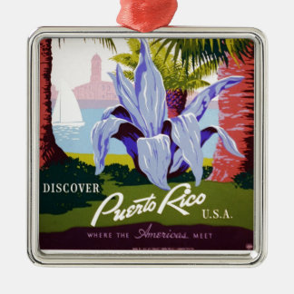 Puerto Rico U.S.A., WPA Tourism and parks poster Silver-Colored Square Ornament