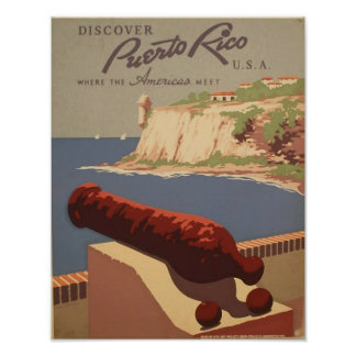 Puerto Rico USA Vintage Travel Poster Art Print