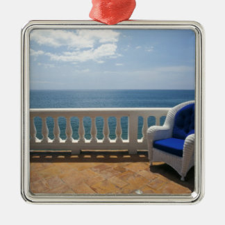 Puerto Rico. Wicker chair and tiled terrace at Silver-Colored Square Ornament