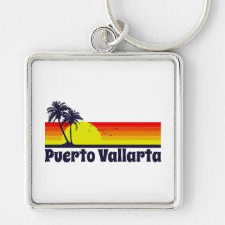 Puerto Vallarta Silver-Colored Square Keychain