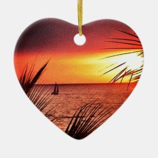 Puerto Vallarta Sunset Ceramic Heart Ornament
