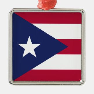 Puertorico flag Silver-Colored square ornament