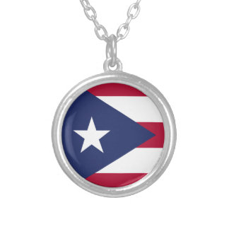 Puertorico flag silver plated necklace