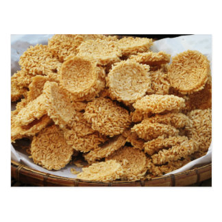 Puffed Rice Cakes ~ Asian Sweets Desserts Food Postcard