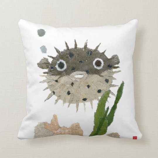 Puffer, Blowfish Throw Pillow