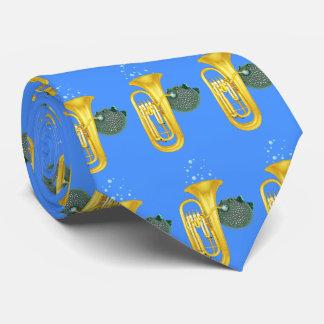 Puffer Fish Playing Tuba - Blue Tie