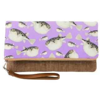 Puffer Fish Purple Pattern Clutch
