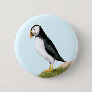 Puffin Bird Watercolour Painting Print fratercula 2 Inch Round Button