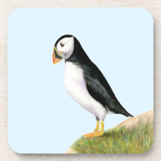 Puffin Bird Watercolour Painting Print fratercula Coaster