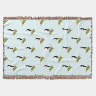 Puffin Bird Watercolour Painting Print fratercula Throw Blanket
