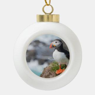 Puffin Ceramic Ball Ornament