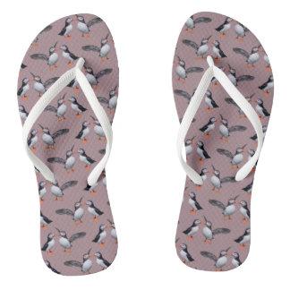 Puffin Frenzy Flip Flops (Pink)
